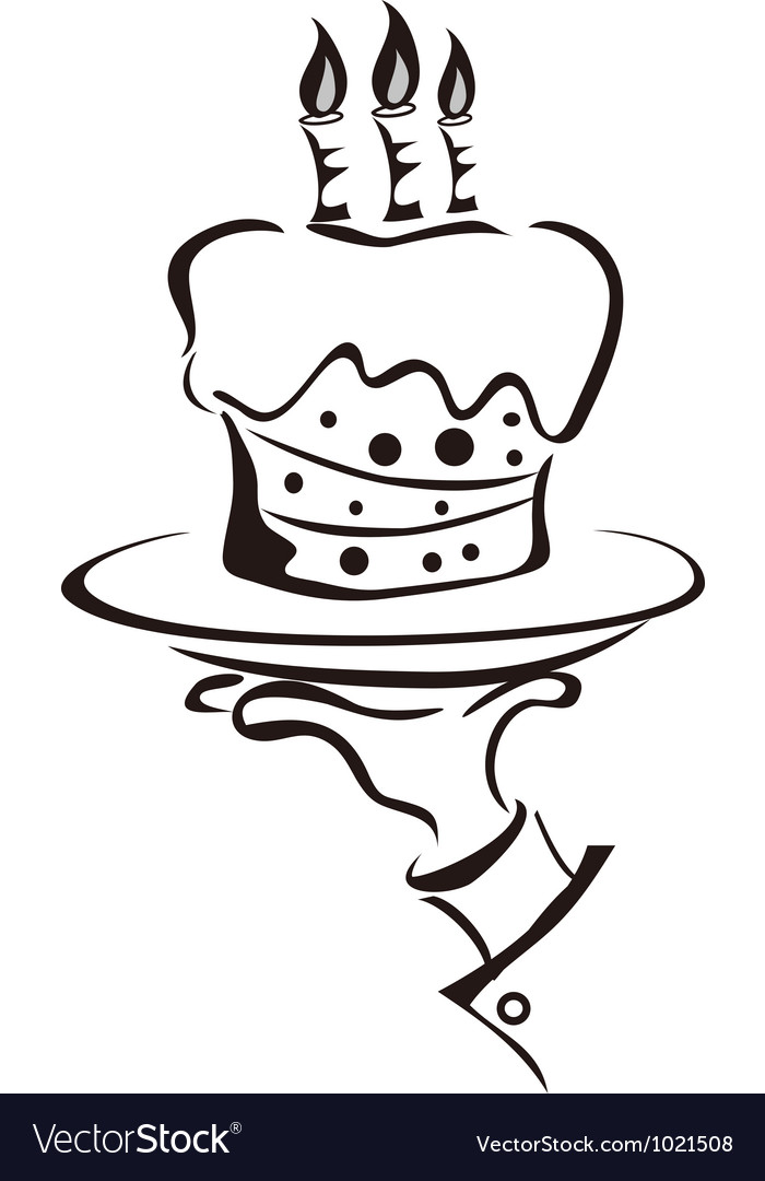 Cake in hand vector | Price: 1 Credit (USD $1)