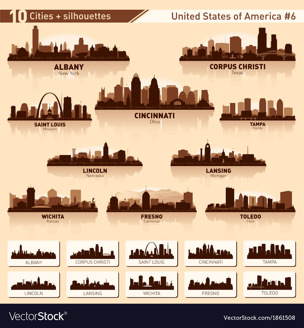 City skyline set 10 city silhouettes of usa 6 vector | Price: 1 Credit (USD $1)