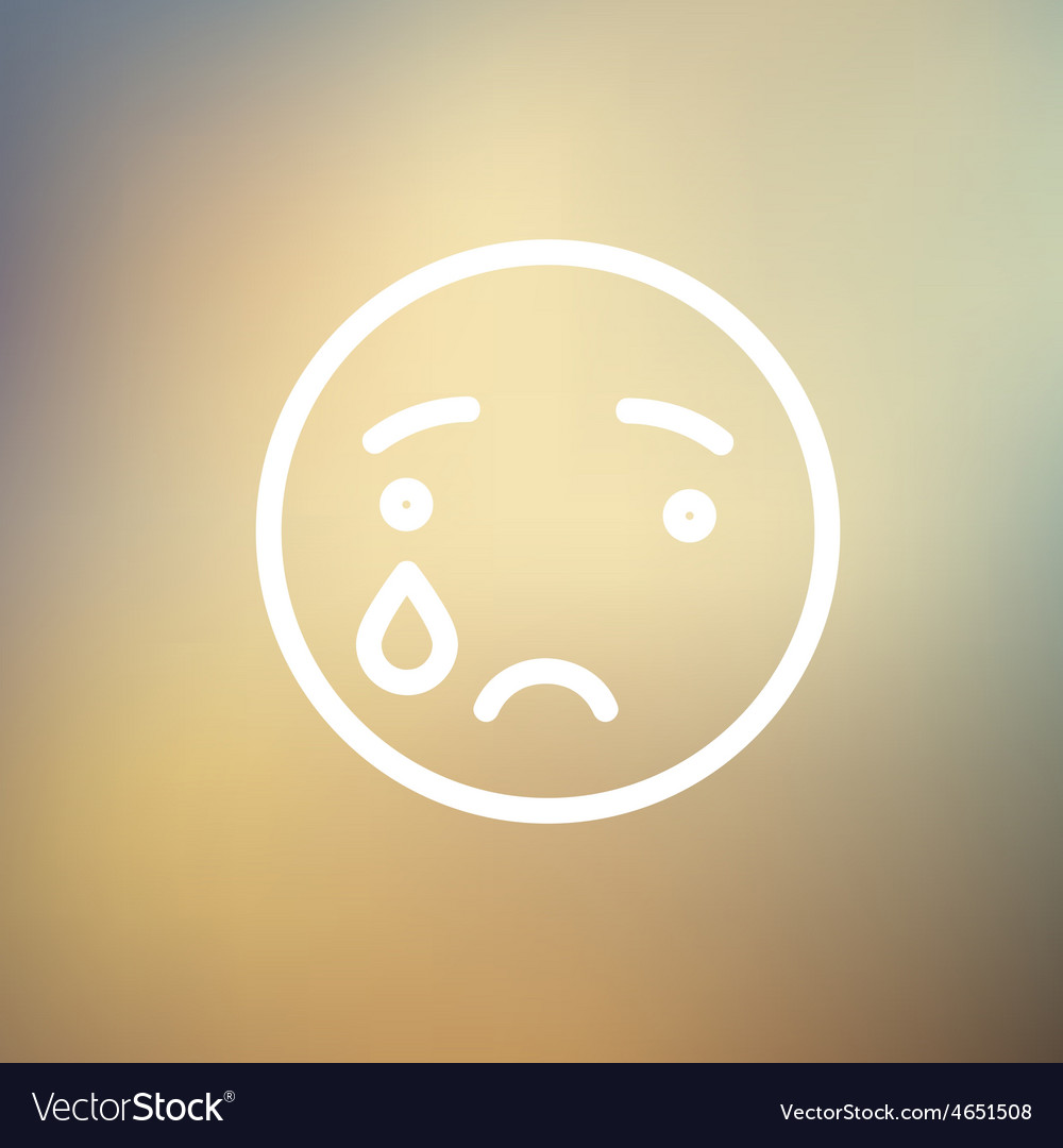Crying thin line icon vector | Price: 1 Credit (USD $1)