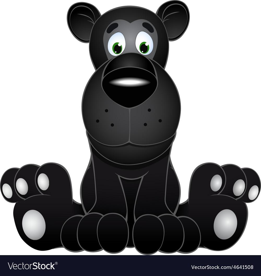 Cute black panther cub vector