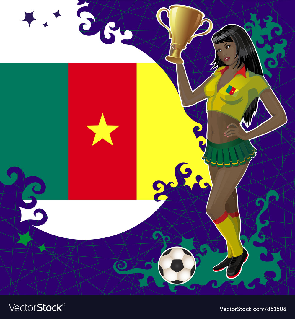 Football poster with girl and flag of cameroon vector | Price: 1 Credit (USD $1)