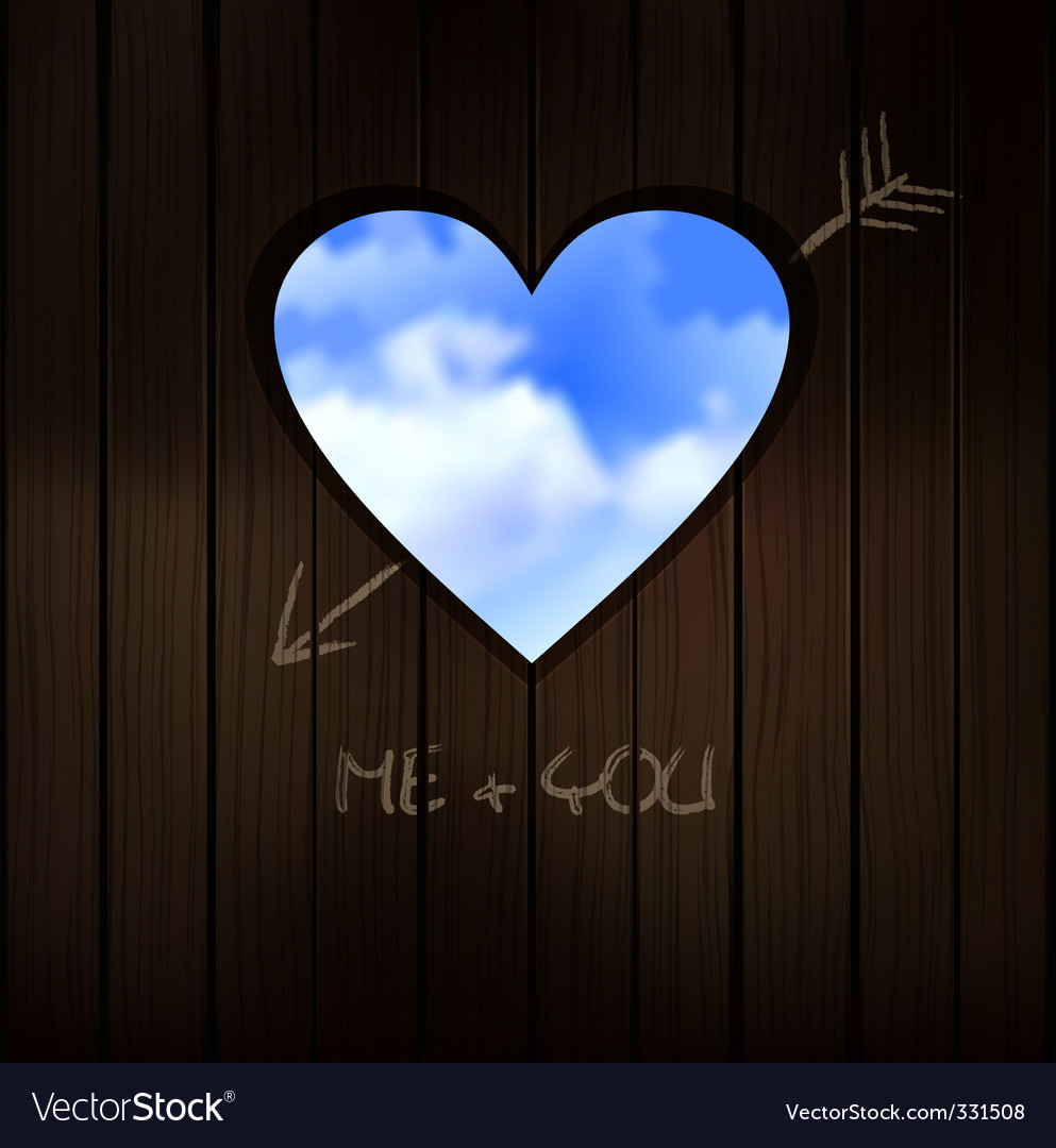 Heart shape cut into wood vector   Price: 1 Credit (USD $1)