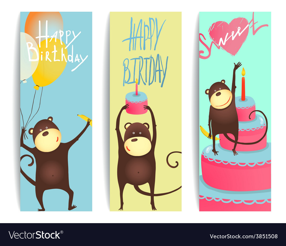 Monkey fun cards with birthday lettering vector | Price: 1 Credit (USD $1)