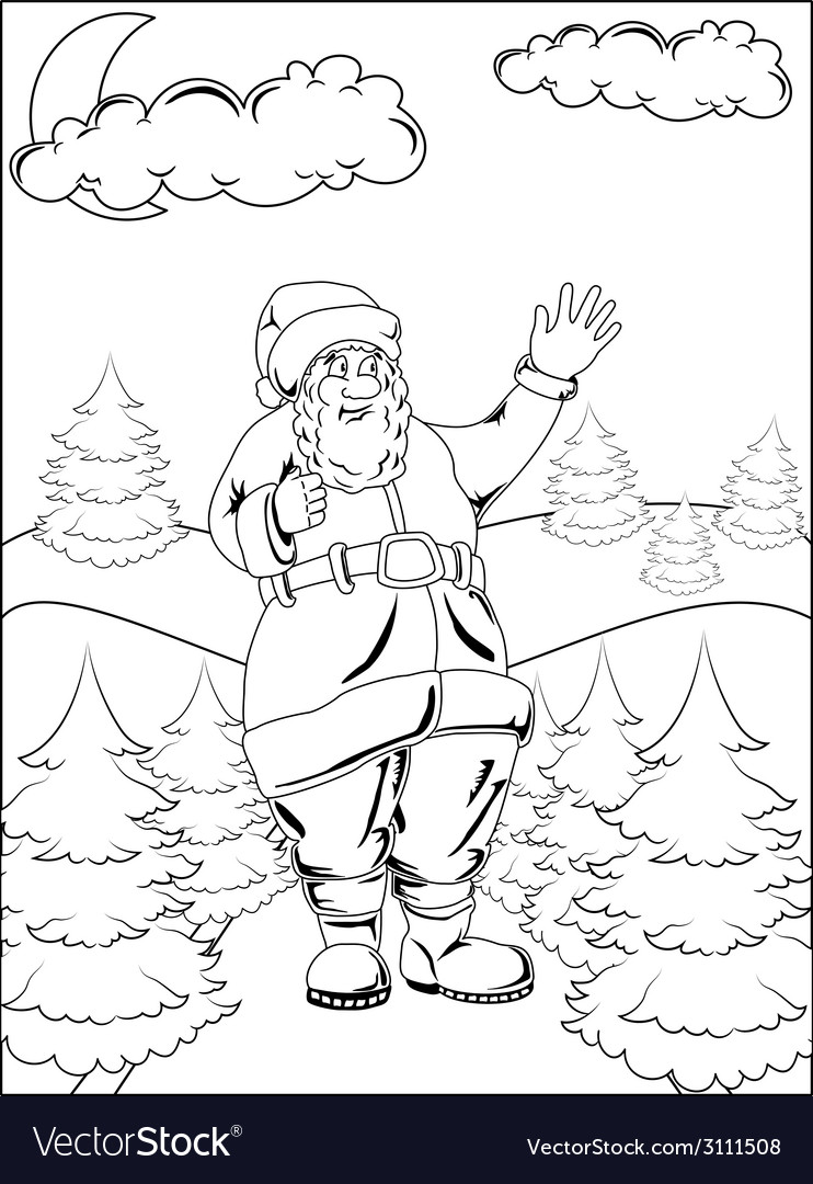 Santa claus in winter forest vector | Price: 1 Credit (USD $1)