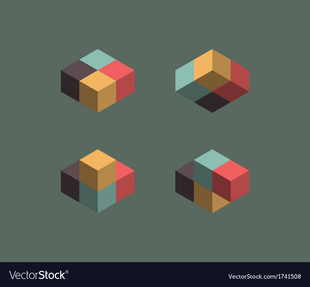 Vintage cube symbols vector | Price: 1 Credit (USD $1)