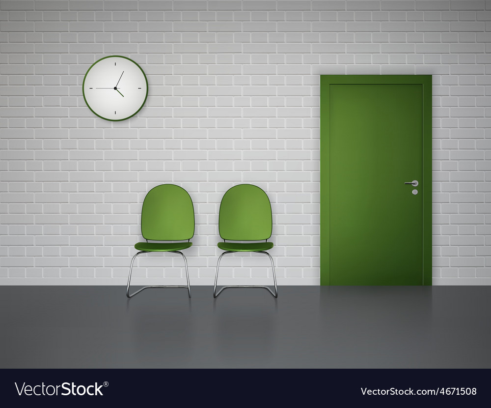 Waiting interior with clock and chairs vector   Price: 1 Credit (USD $1)