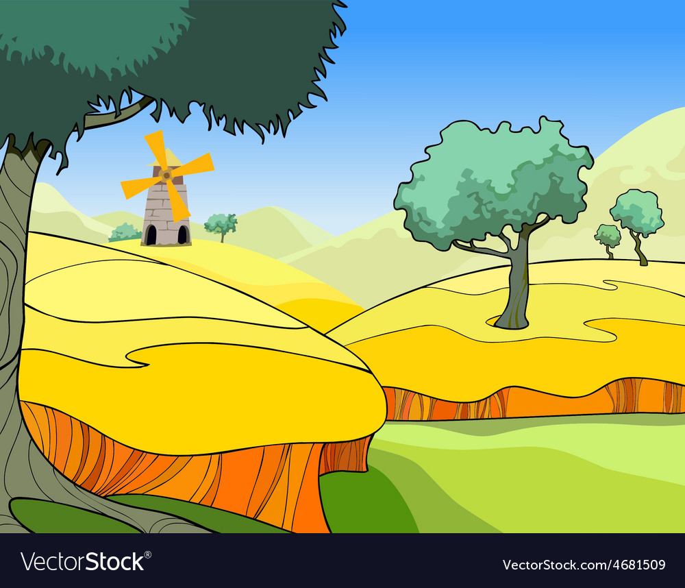 Cartoon landscape of a wheat field with trees vector | Price: 3 Credit (USD $3)