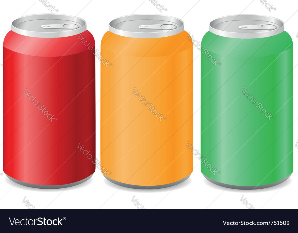 Coloured aluminum cans with soda vector | Price: 1 Credit (USD $1)