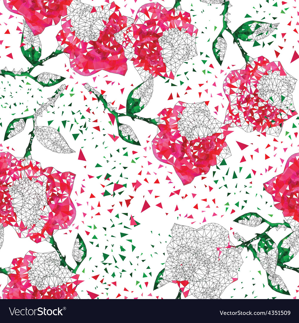 Seamless roses ornament in a linear triangular vector | Price: 1 Credit (USD $1)