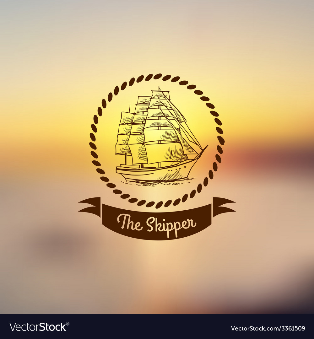 Ship emblem on light background vector | Price: 1 Credit (USD $1)