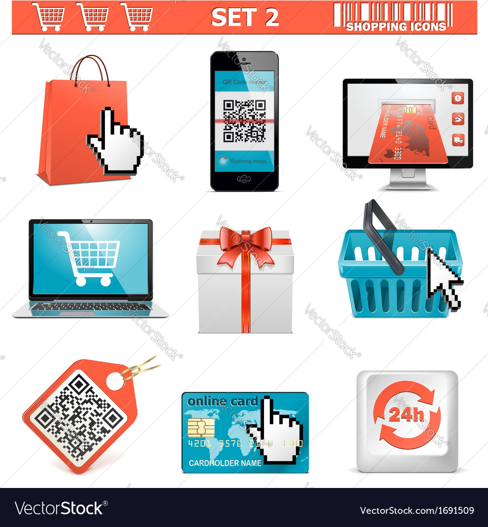 Shopping icons set 2 vector | Price: 1 Credit (USD $1)