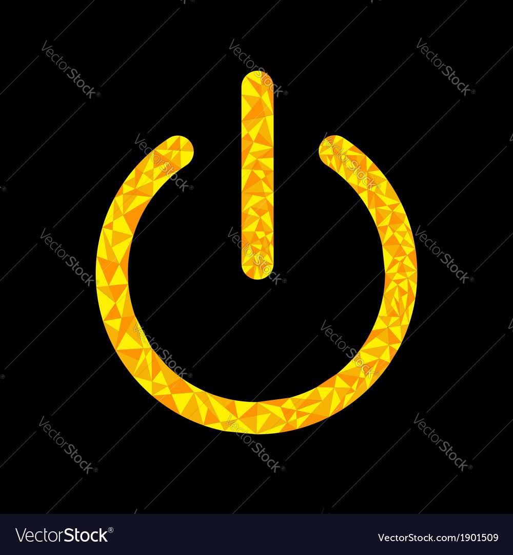 Yellow power button icon black background polygona vector   Price: 1 Credit (USD $1)