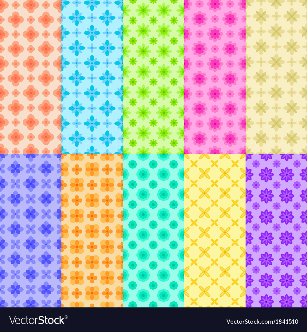 10 colorful flower patterns vector | Price: 1 Credit (USD $1)