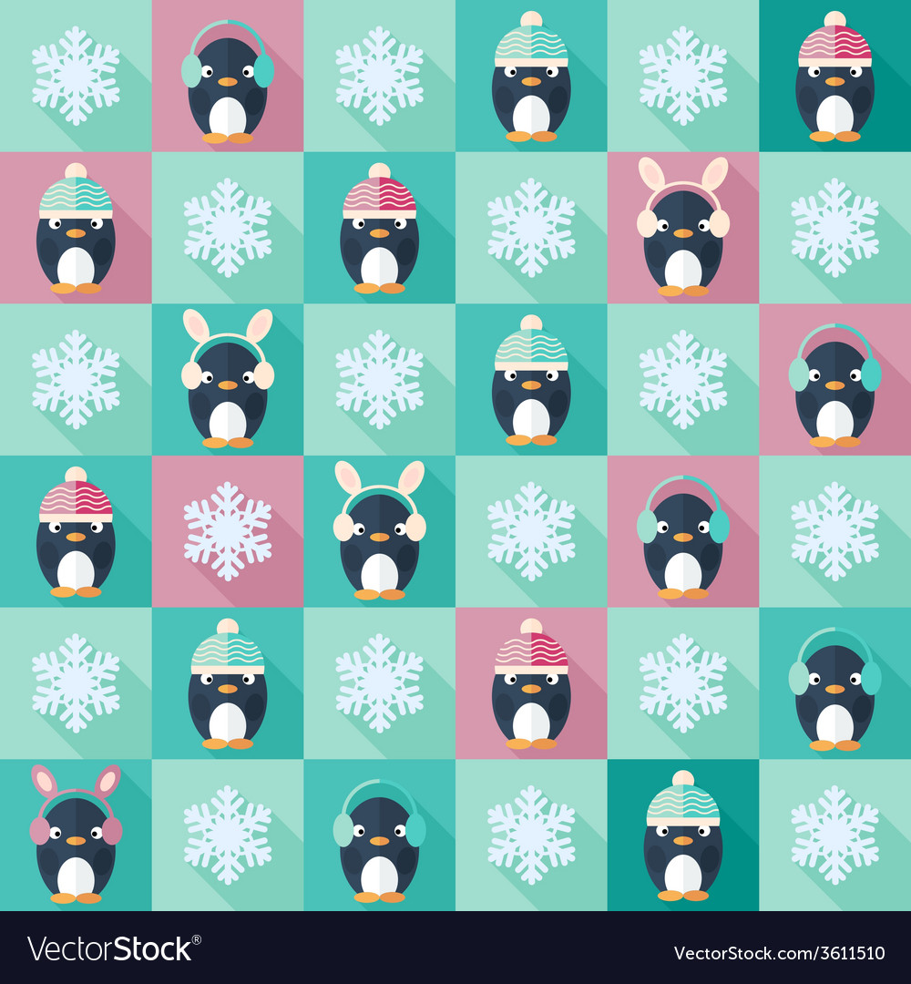 Christmas flat seamless pattern with penguins vector | Price: 1 Credit (USD $1)