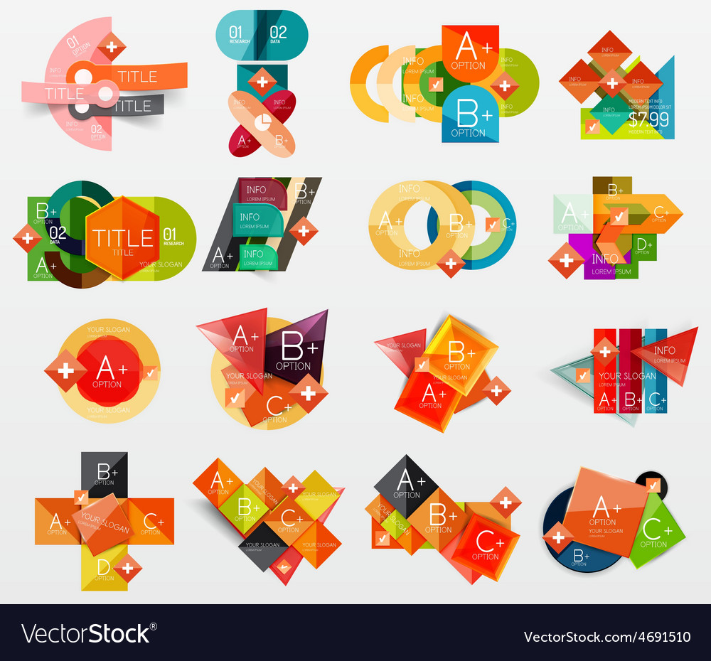 Collection of modern business infographic vector | Price: 1 Credit (USD $1)
