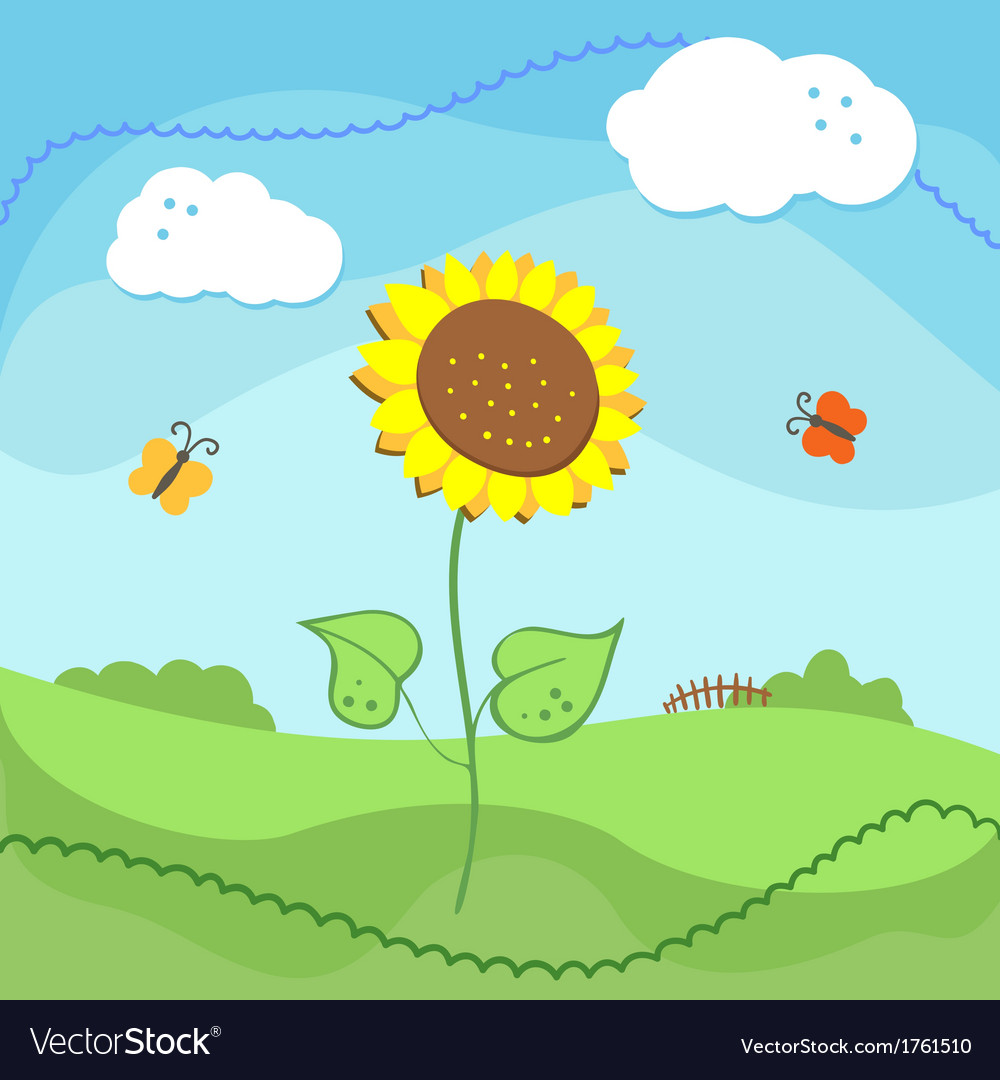 Country landscape with sunflowers and clouds vector | Price: 1 Credit (USD $1)