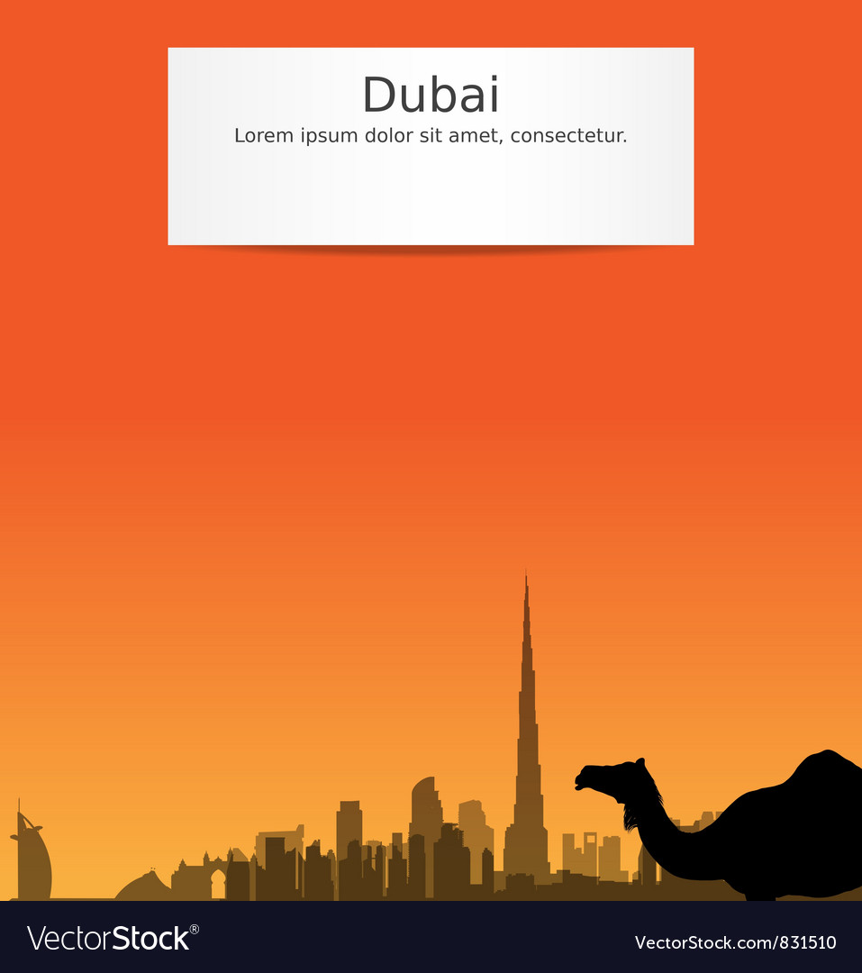 Dubai silhouette skyline vector | Price: 1 Credit (USD $1)