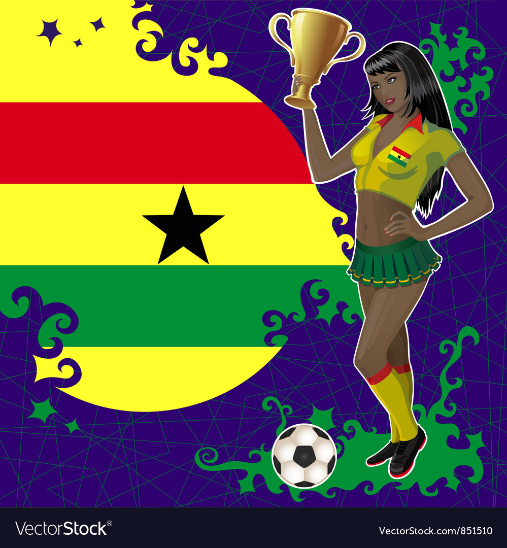 Football poster with girl and flag of ghana vector | Price: 1 Credit (USD $1)