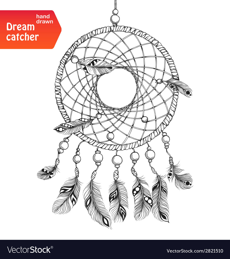 Native american dream catcher with feathers vector | Price: 1 Credit (USD $1)