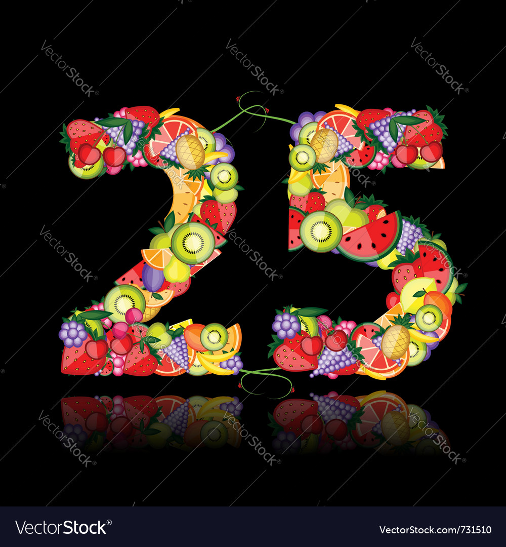 Number twenty five made from fruits vector | Price: 1 Credit (USD $1)