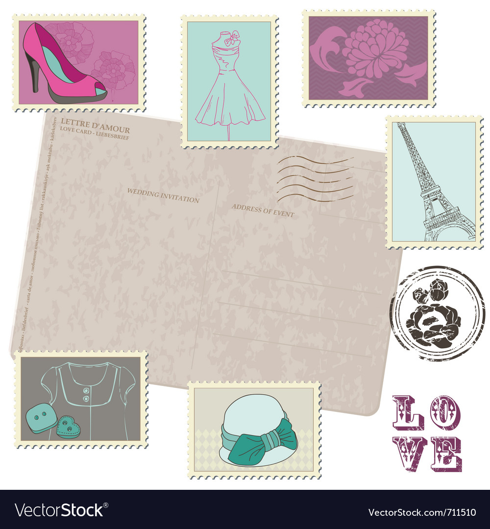 Retro postcard with set of fashion stamps vector | Price: 1 Credit (USD $1)