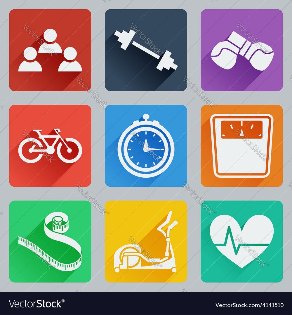 Set of colored square icons on fitness vector | Price: 1 Credit (USD $1)
