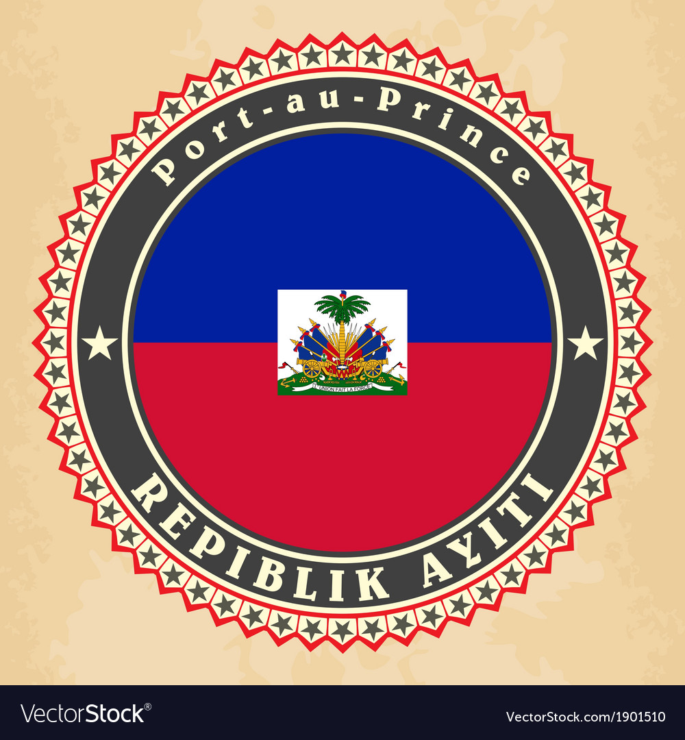 Vintage label cards of haiti flag vector   Price: 1 Credit (USD $1)