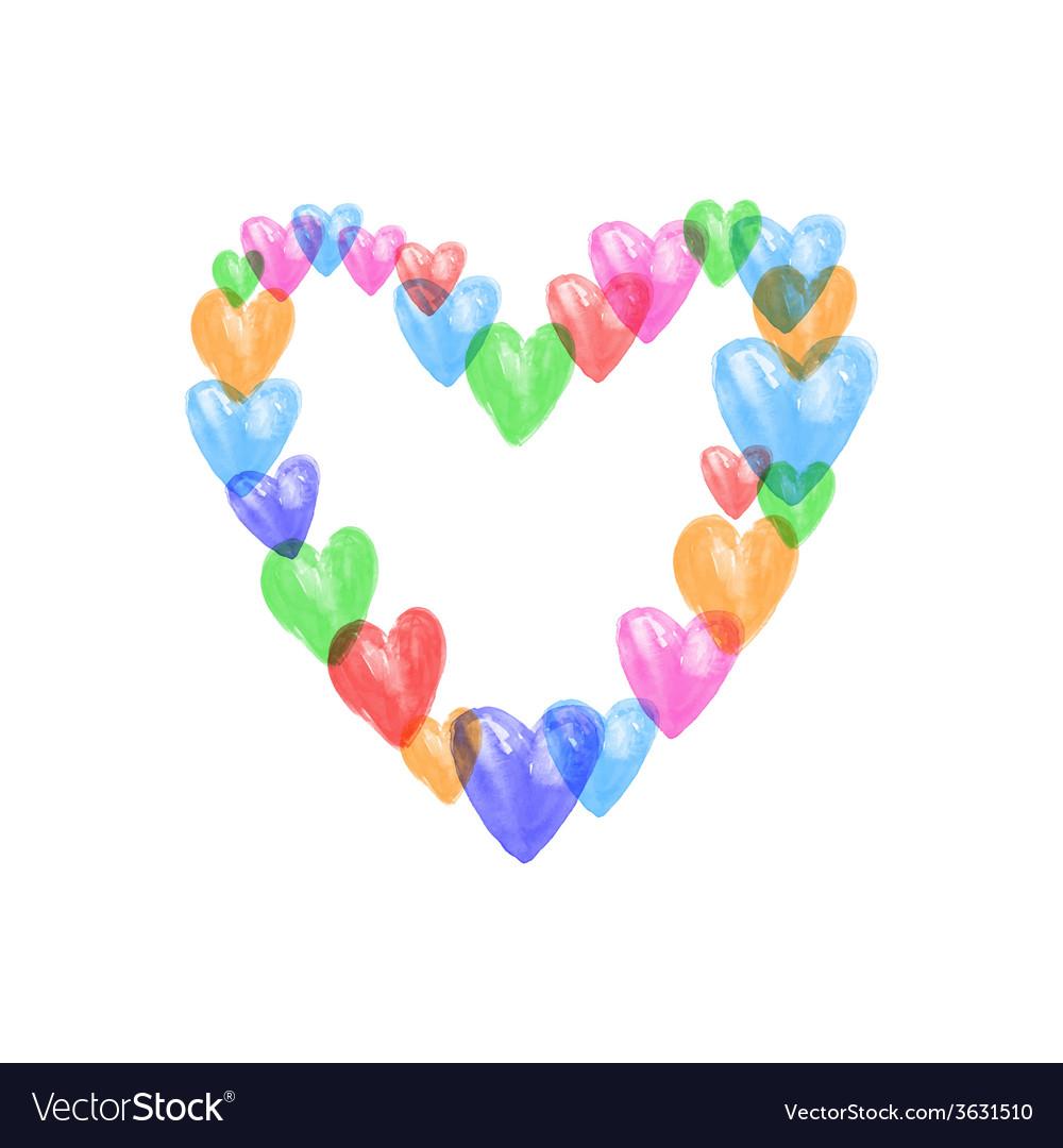 Watercolor colors hearts vector | Price: 1 Credit (USD $1)