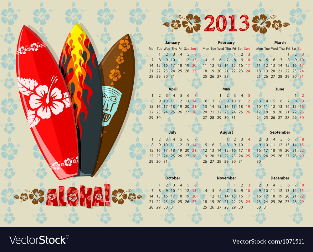 Aloha kalendar europ 13 vector | Price: 3 Credit (USD $3)