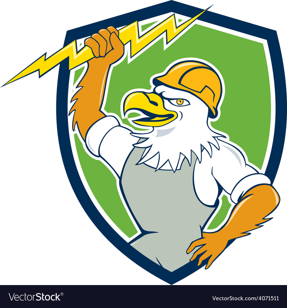 Bald eagle electrician lightning bolt shield vector | Price: 1 Credit (USD $1)