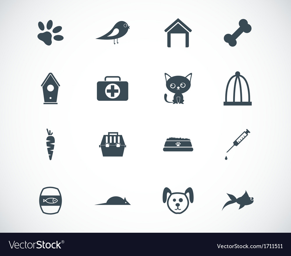 Black pet icons set vector | Price: 1 Credit (USD $1)