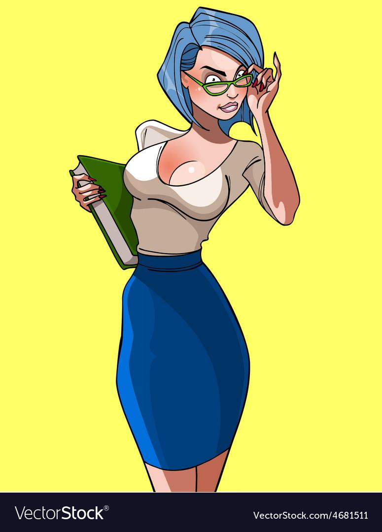 Cartoon of a beautiful woman teacher with book vector | Price: 3 Credit (USD $3)