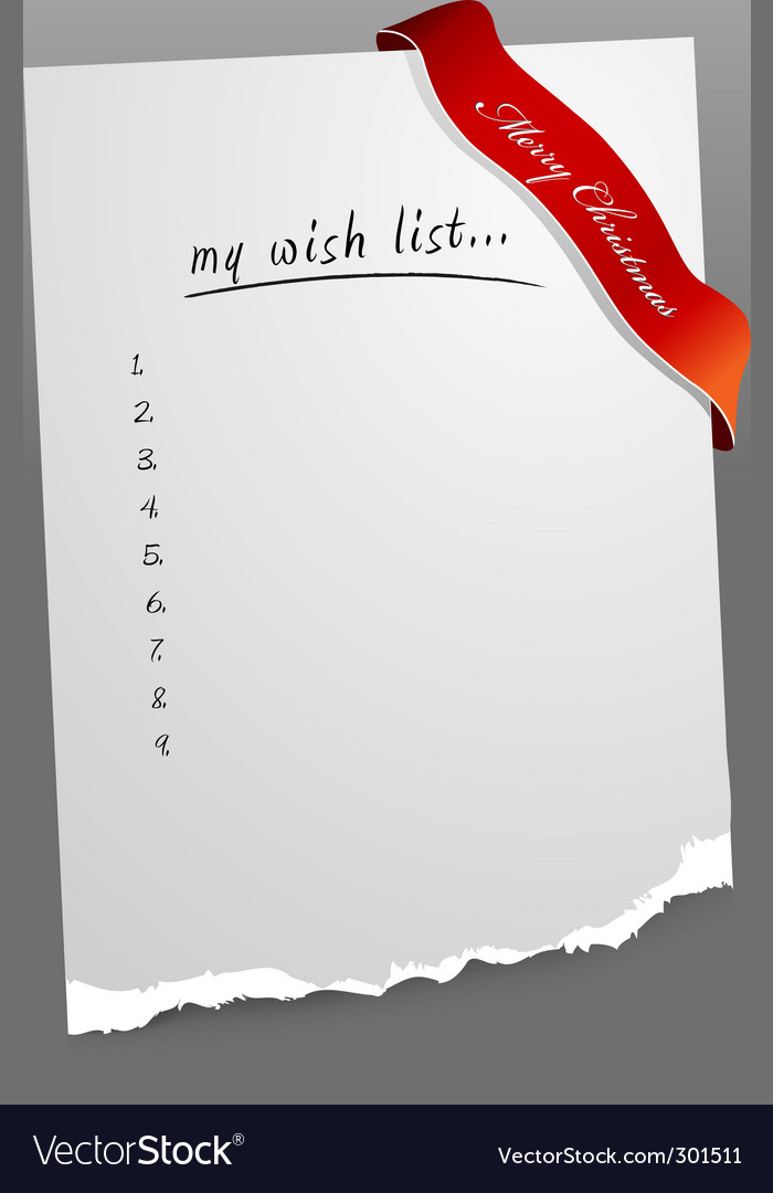 Christmas wish list vector | Price: 1 Credit (USD $1)
