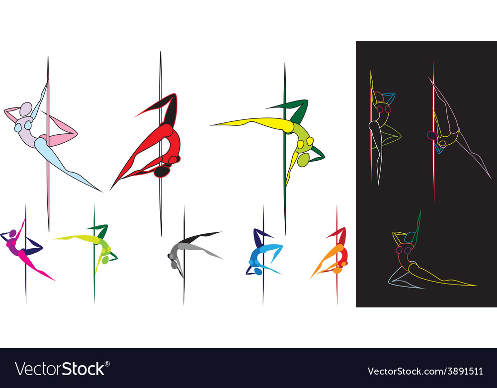 Colored pole dancers silhouettes vector | Price: 1 Credit (USD $1)