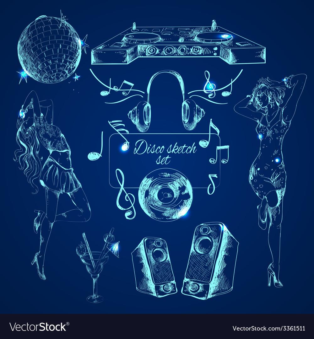 Disco sketch set vector | Price: 1 Credit (USD $1)