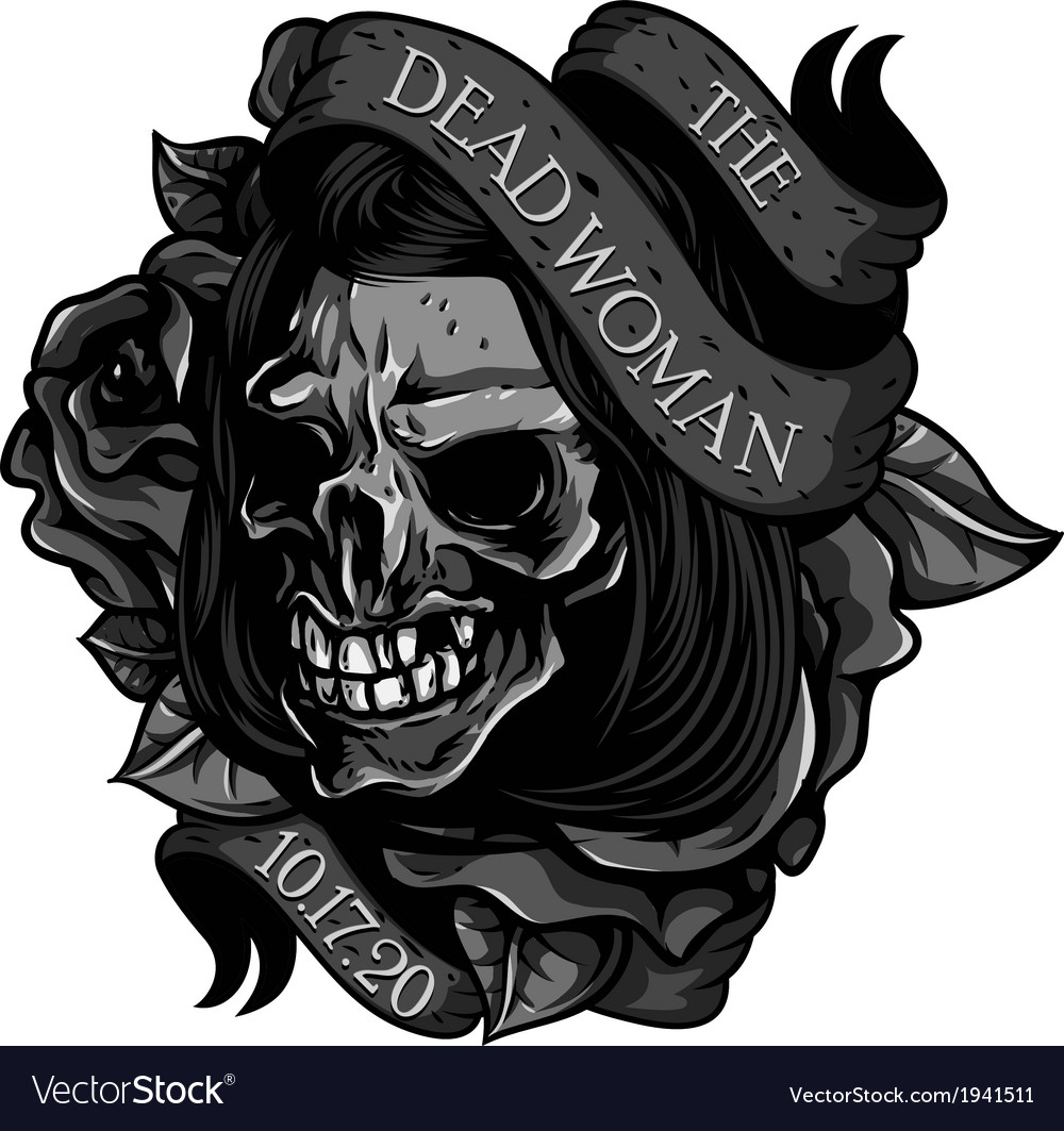 The-dead-woman-skull-tattoo vector | Price: 1 Credit (USD $1)