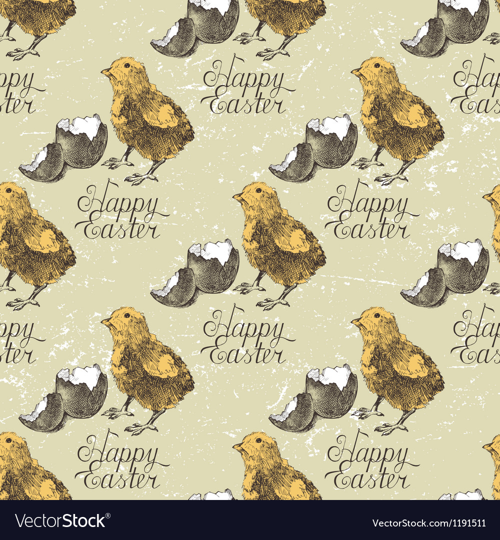 Easter seamless with chick vector   Price: 3 Credit (USD $3)