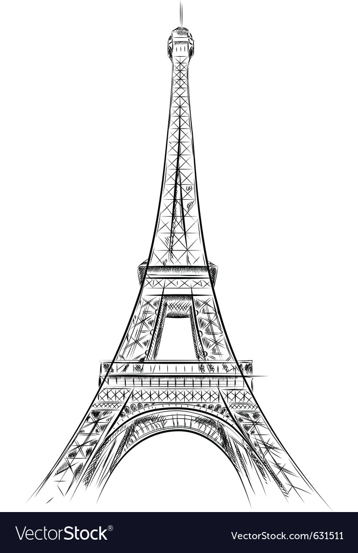 Eiffel tower on the white vector | Price: 1 Credit (USD $1)