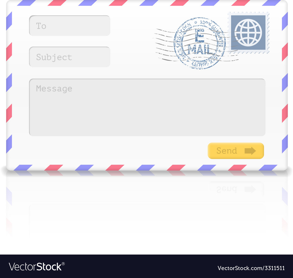 Email envelope isolated on white background vector | Price: 1 Credit (USD $1)
