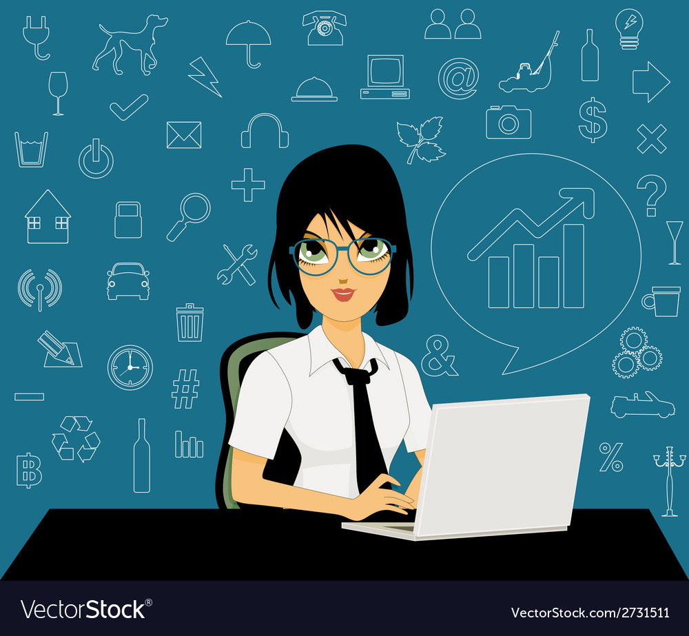 Female employees with icons vector | Price: 1 Credit (USD $1)