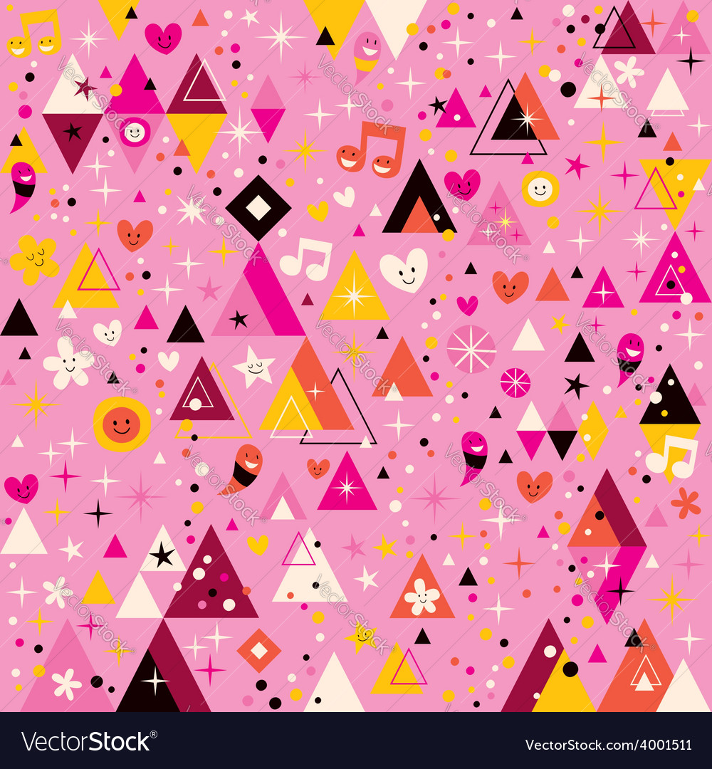 Fun triangles abstract art funky cartoon retro vector | Price: 1 Credit (USD $1)