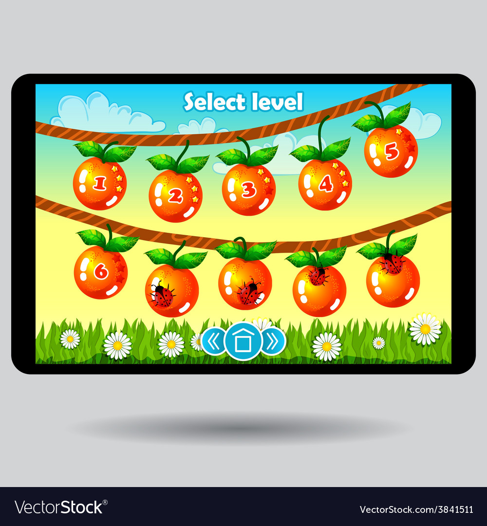 Game level selection fruit ui screen vector   Price: 1 Credit (USD $1)