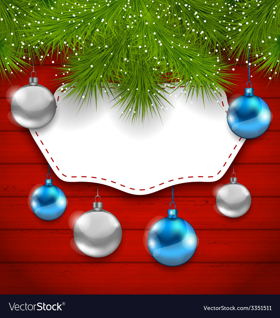 New year greeting card with colorful balls and fir vector | Price: 3 Credit (USD $3)