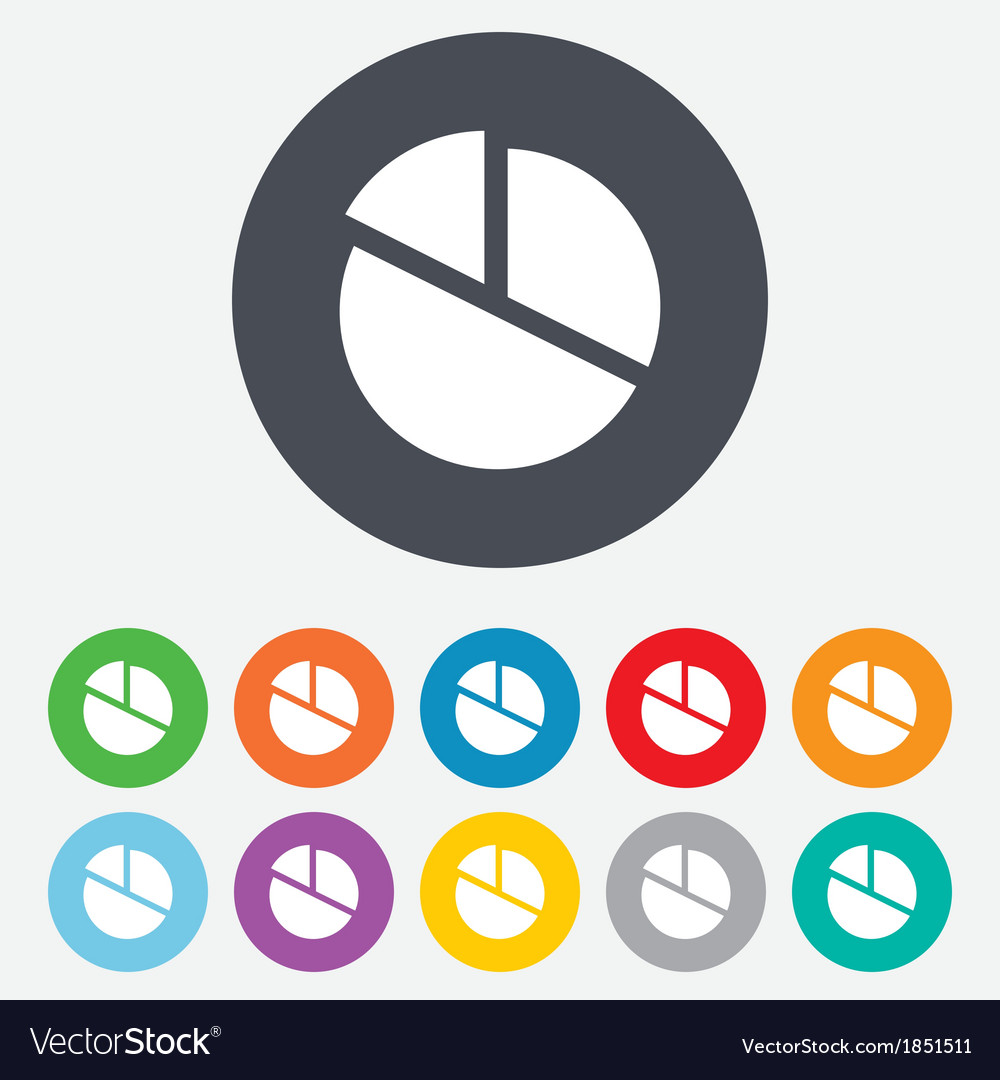 Pie chart graph sign icon diagram button vector | Price: 1 Credit (USD $1)