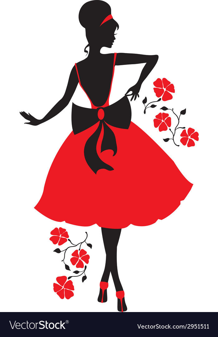 Retro woman silhouette vector | Price: 1 Credit (USD $1)