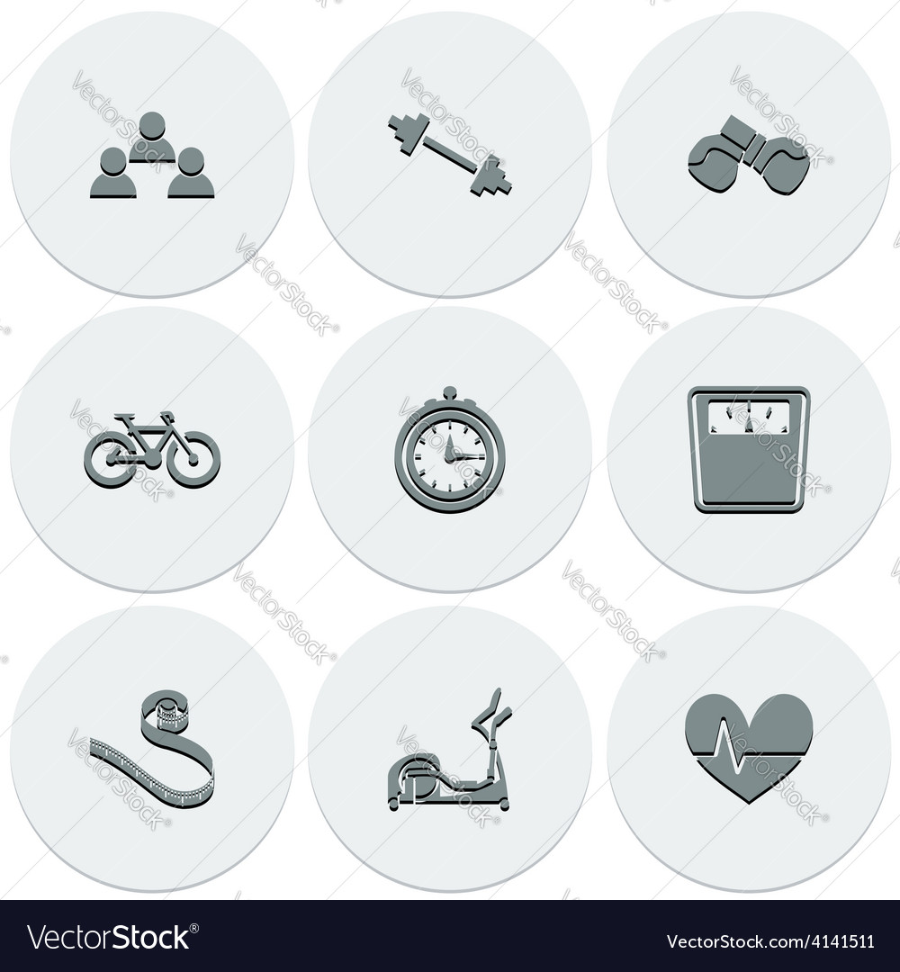 Set of light icons on round fitness fashionable vector | Price: 1 Credit (USD $1)