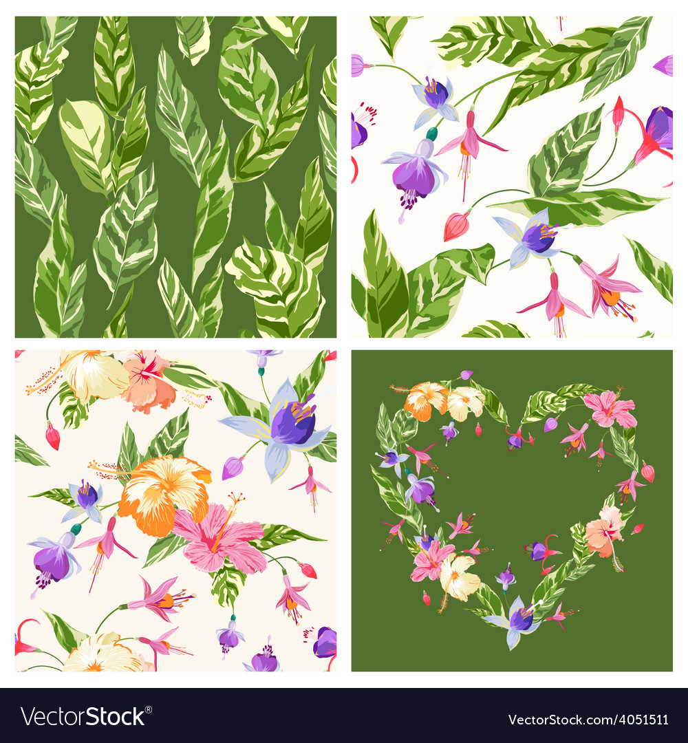 Set of tropical backgrounds vector | Price: 1 Credit (USD $1)