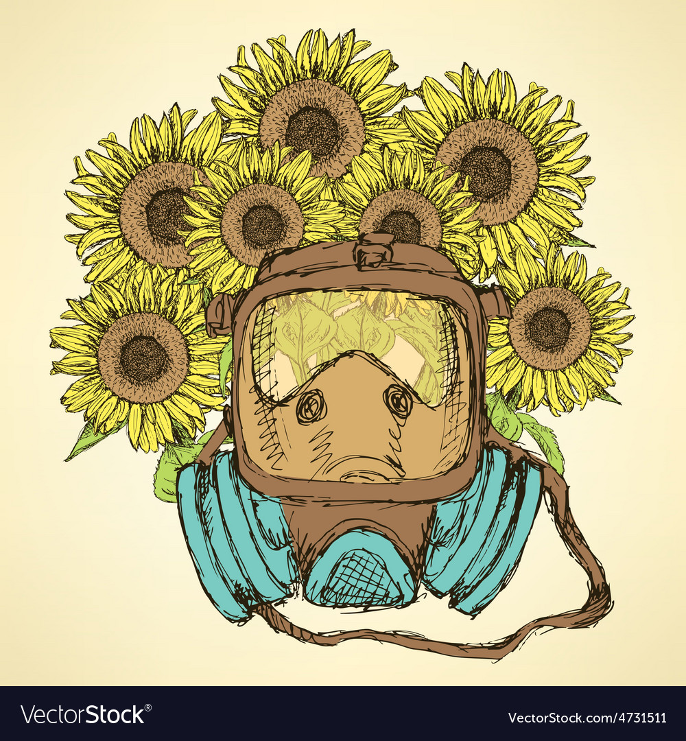 Sketch respiratory mask with sunflower vector | Price: 1 Credit (USD $1)