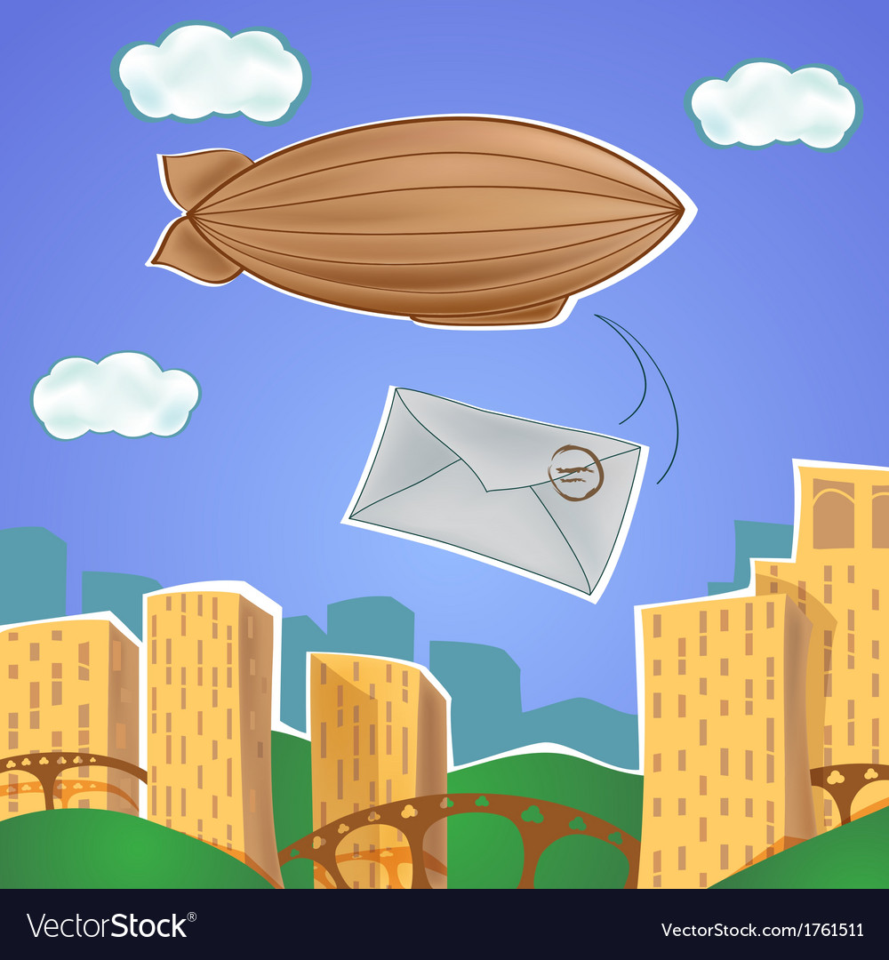 Urban landscape with blimp and letter vector | Price: 1 Credit (USD $1)