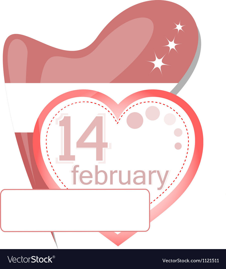 Valentine calendar icon love heart invitation card vector | Price: 1 Credit (USD $1)